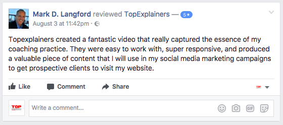 Screenshot facebook testimonial about infographic video 5 star rating