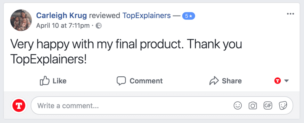 Screenshot of 5 star facebook testimonial from client product animated video