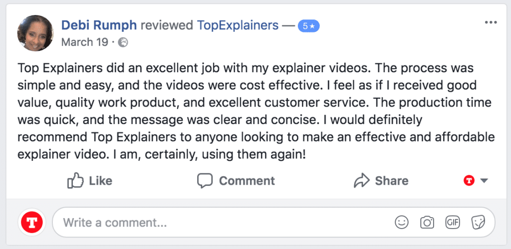 Customer testimonial 5 star facebook rating for topexplainers creating the perfect video script