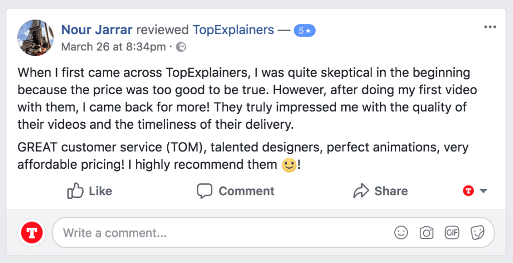 5 star facebook testimonial from client's product pr video by Top Explainers