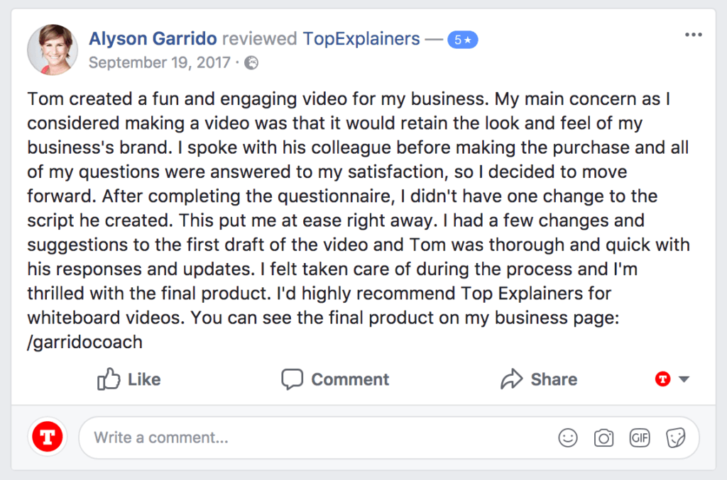 Screenshot of 5 star facebook testimonial from client sales video by topexplainer.com