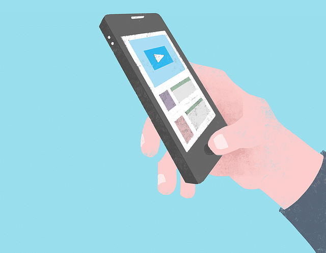 animated hand using smartphone wanting to play a video