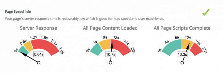page speed report