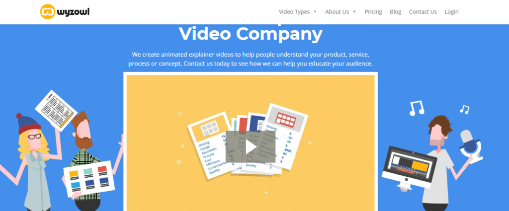 Wyzowl explainer video company homepage