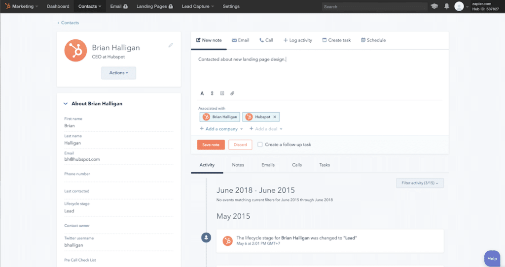 hubspot dashboard of email marketing and CRM software