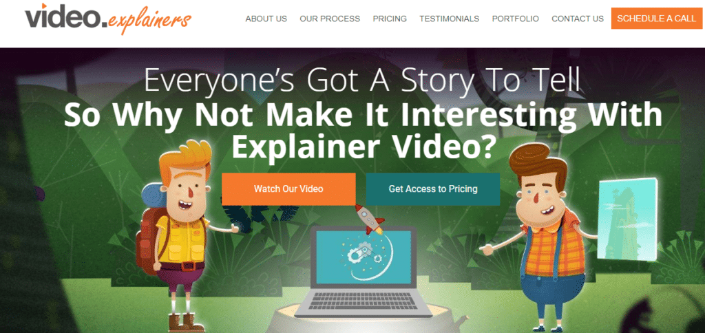 screenshot of video explainers homepage